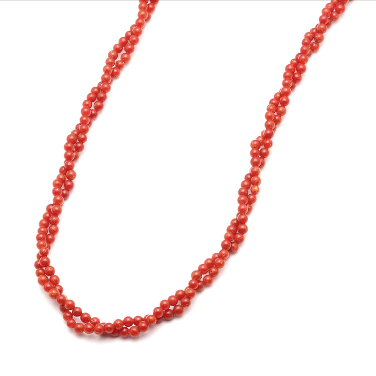 胡渡珊瑚 編み込み ツイストネックレス 40cm 天然 地中海 イタリア 太め 赤 スクリュー レディース