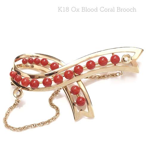 K18 血赤珊瑚 ブローチ 18金 ゴールド さんご サンゴ 大きめ 個性的 フォーマル 入学式 卒業式 レディース