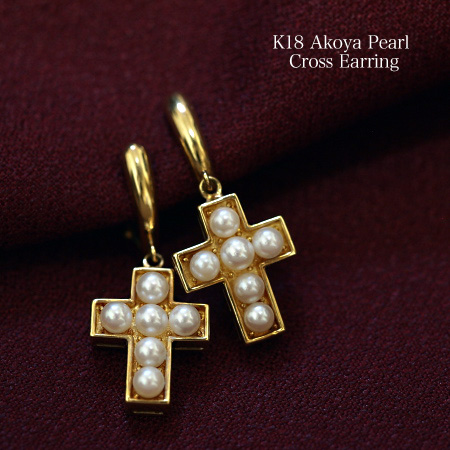 K18 アコヤ真珠 ベビーパール クロス イヤリング 18金 ゴールド あこや 揺れる ぶら下がり 大ぶり 十字架 個性的
