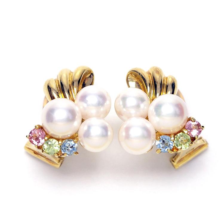 クリップイヤリング K18 アコヤ真珠&天然石