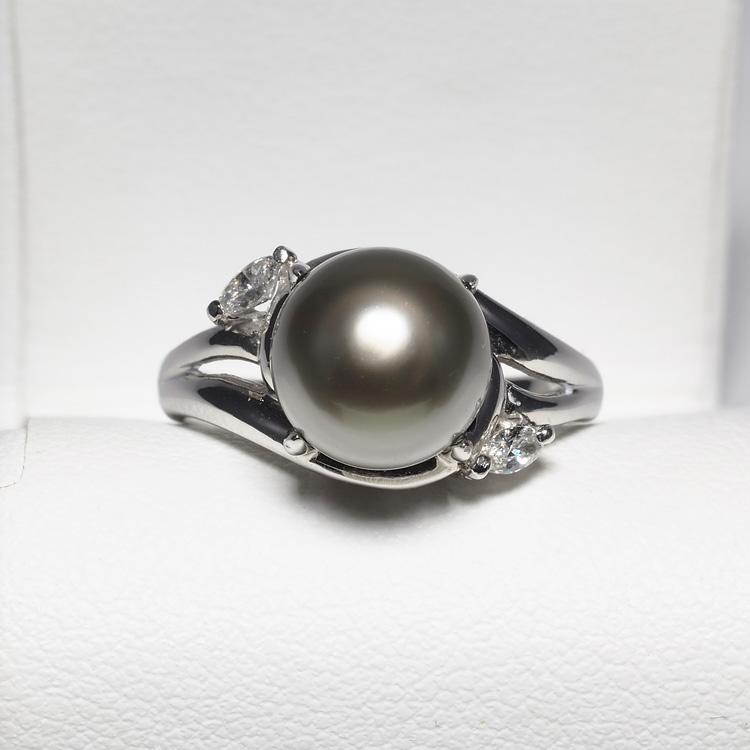 プラチナ900 タヒチ真珠 パールリング 12号 ダイヤモンド付き 9.2mm サイズ直し可 グレーグリーン 黒蝶 大粒 指輪 レディース