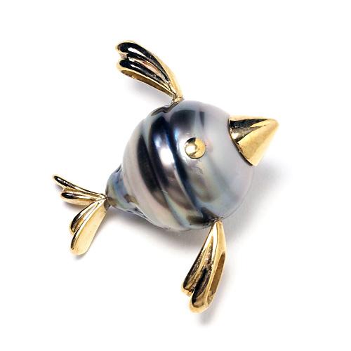 タヒチ真珠 バロック フィッシュ ペンダントトップ レディース