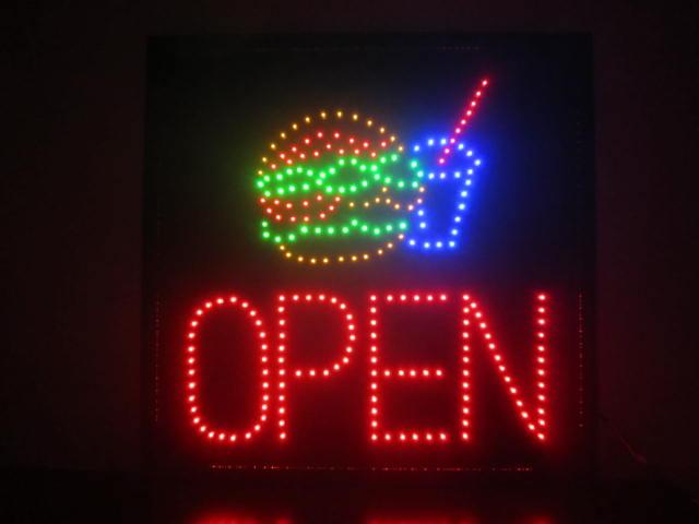 送料無料 看板 LED看板 LEDライト LED 看板 開店お祝い品 ハンバーガー