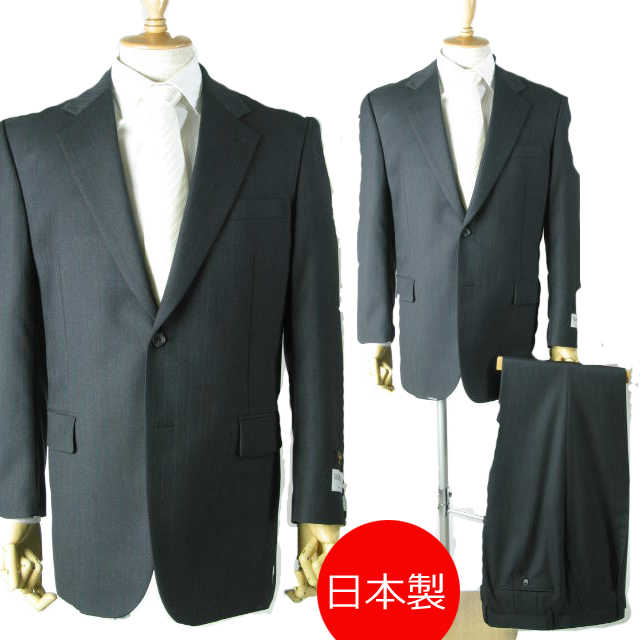 日本製 *スリーシーズン合物*ビジネススーツAB4 サイズ:2B×1:R760:AB体★パンツ裾未処理