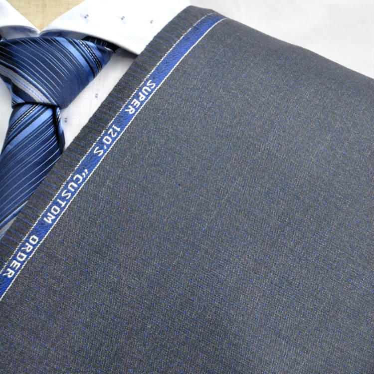 【A】:お好みの素材:POW18W02-1 SUPER120' ビッグサイズ(bigsize)の方に最適:ミディアムグレー色の限りなく無地に近いチェック柄合物(スリーシーズン)パターンオーダースーツのS上下出来上がり価格
