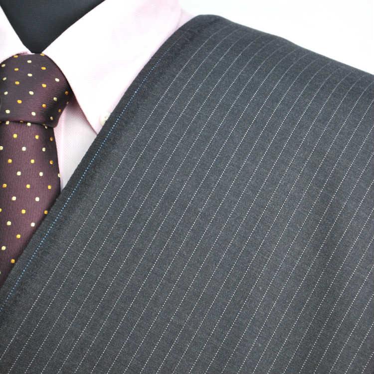 【A】:お好みの素材:POA2906-25ビッグサイズ(bigsize)の方に最適:ミディアムグレーのストライプ柄合物(スリーシーズン)パターンオーダースーツのS上下出来上がり価格