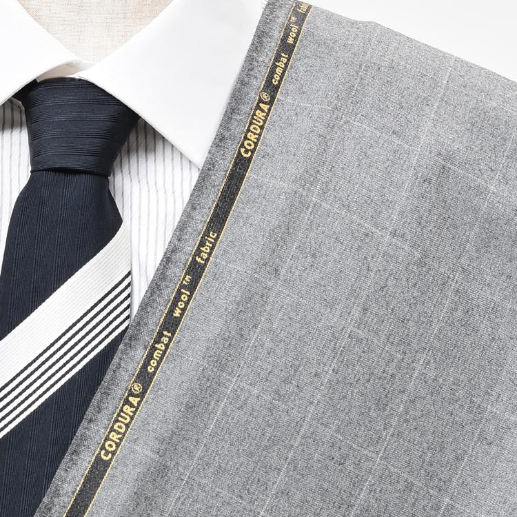 【A】:お好みのCORDURA素材:POW30411Bビッグサイズ(bigsize)の方に最適:ライトグレーのチェック柄合物(スリーシーズン)パターンオーダースーツのS上下出来上がり価格