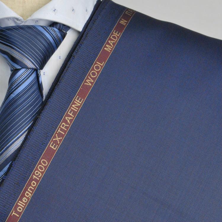 【A】:お好みの素材Tollegno1900 イタリア製生地:POA4043-92-70ビッグサイズ(bigsize)の方に最適 明るいブルーの木調シャンブレー柄合物(スリーシーズン)パターンオーダースーツのS上下出来上がり価格