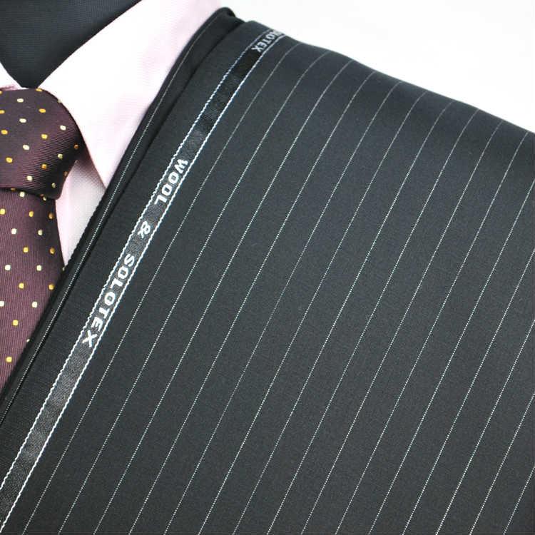 【A】:お好みの素材:POA4303-A1ビッグサイズ(bigsize)の方に最適:ブラック色のストライプ柄合物(スリーシーズン)パターンオーダースーツのS上下出来上がり価格