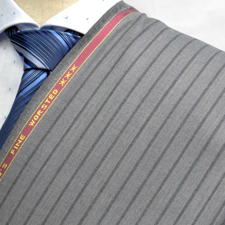 【A】:お好みの素材:POW7513-4 SUPER100' ビッグサイズ(bigsize)の方に最適:ベージュ色のストライプ柄合物(スリーシーズン)パターンオーダースーツのS上下出来上がり価格