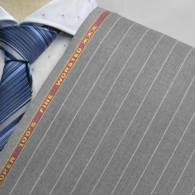 【A】:お好みの素材:POW7521-6 SUPER100' ビッグサイズ(bigsize)の方に最適:ベージュ色のストライプ柄合物(スリーシーズン)パターンオーダースーツのS上下出来上がり価格