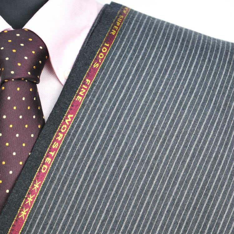 【A】:お好みの素材:POAcw7519-4ビッグサイズ(bigsize)の方に最適:ミディアムグレーのストライプ柄合物(スリーシーズン)パターンオーダースーツのS上下出来上がり価格