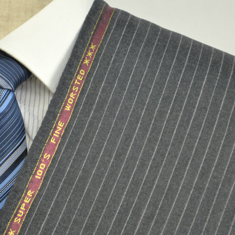 【A】:お好みの素材POWCW8014-2ビッグサイズ(bigsize)の方に最適:ミディアムグレーのストライプ柄秋冬物(ウインターシーズン)パターンオーダースーツのS上下出来上がり価格