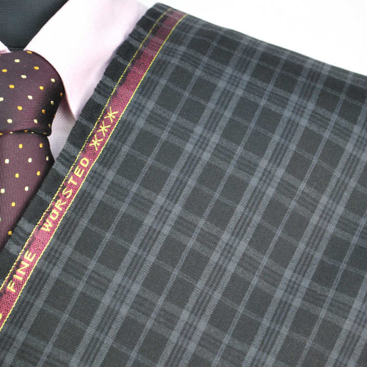 【A】:お好みの素材:POACW8016-1ビッグサイズ(bigsize)の方に最適:ダークグレー色のチェック柄合物(スリーシーズン)パターンオーダースーツのS上下出来上がり価格