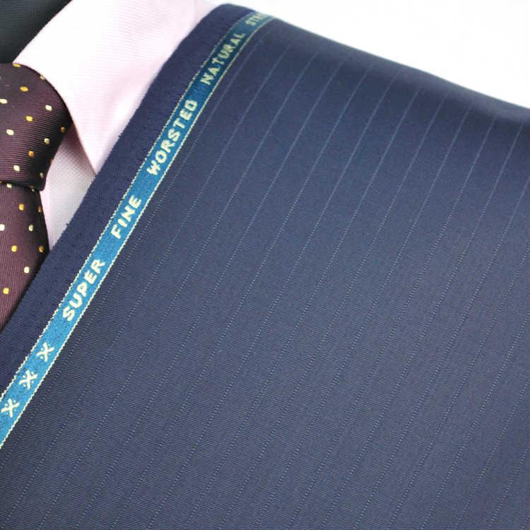 【A】:お好みの素材:POAka252-3ビッグサイズ(bigsize)の方に最適:ミディアムブルー色のストライプ柄合物(スリーシーズン)パターンオーダースーツのS上下出来上がり価格