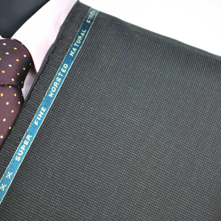 【A】:お好みの素材:POAka261-2ビッグサイズ(bigsize)の方に最適:ダークグレー色のピンチェック柄合物(スリーシーズン)パターンオーダースーツのS上下出来上がり価格