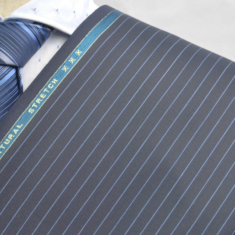 【A】:お好みの素材:POWKA429-3 ビッグサイズ(bigsize)の方に最適:限りなく黒に近いダークブルー色のストライプ柄合物(スリーシーズン)パターンオーダースーツのS上下出来上がり価格