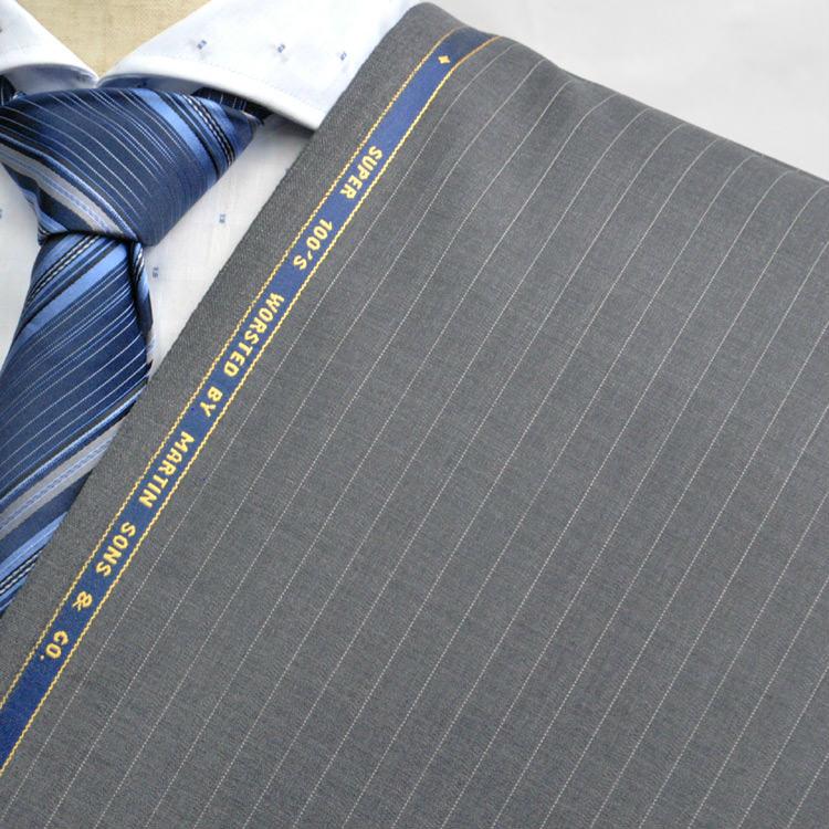 【A】:お好みの素材:POAMS74323 Martin Sons  SUPER100'ビッグサイズ(bigsize)の方に最適:ライトグレー色のストライプ柄合物(スリーシーズン)パターンオーダースーツのS上下出来上がり価格