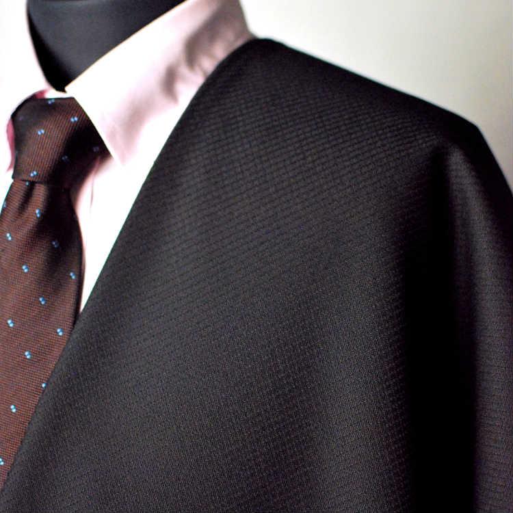 【A】:お好みの素材:POATCH8216ビッグサイズ(bigsize)の方に最適:ブラック色の斜めチェック柄合物(スリーシーズン)パターンオーダースーツのS上下出来上がり価格