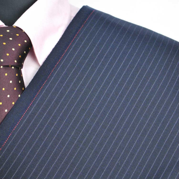 【A】:お好みの素材:POAtk846-1ビッグサイズ(bigsize)の方に最適:ダークブルー色のストライプ柄合物(スリーシーズン)パターンオーダースーツのS上下出来上がり価格