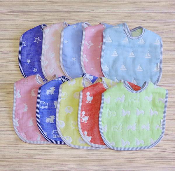 六重織ガーゼベビースタイ 5枚セット 送料無料 日本製 肌触り 赤ちゃん ベビー スタイ ギフト プレゼント 出産祝い よだれかけ 授乳