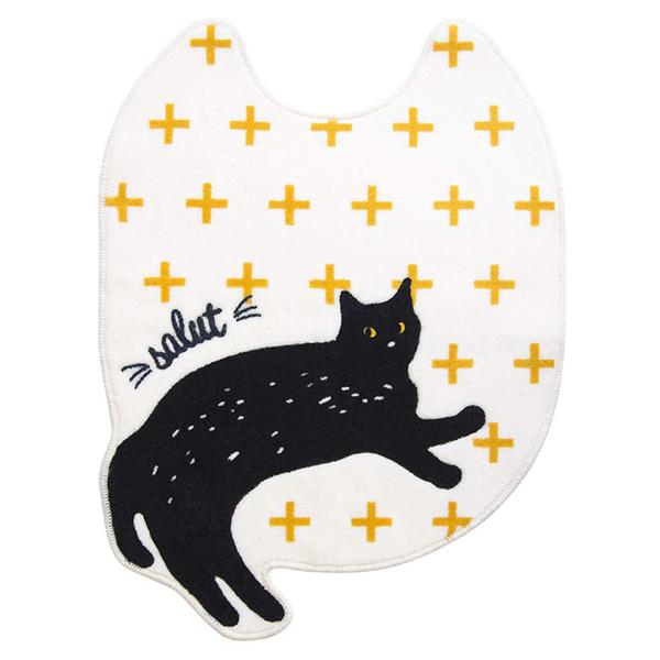 全店販売中 お洗濯可能 情熱セール ネコちゃんトイレマット 送料無料 オカトーsalut ロングトイレマット 80×60イエロー cat