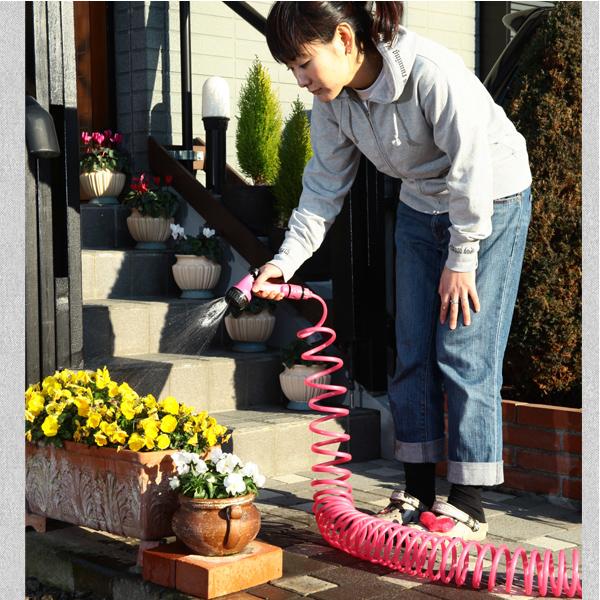 コイル式のホースなので楽ちん収納 ガーデンコイルホース レギュラー ピンク 店内限界値引き中&セルフラッピング無料 売買