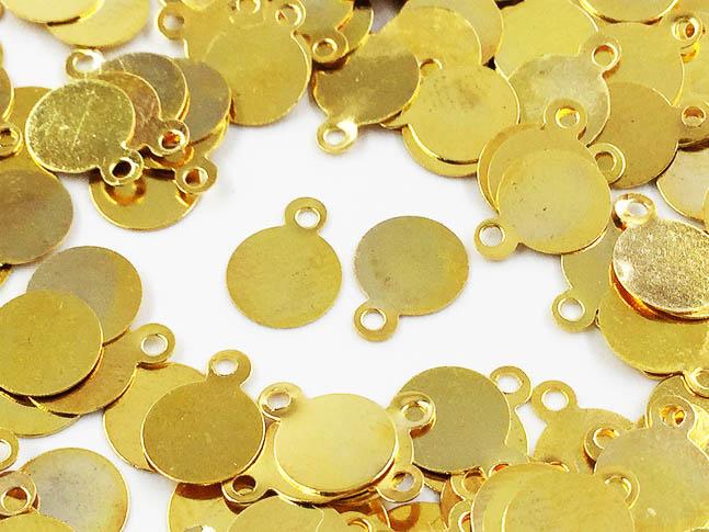 公式ショップ ラウンド プレート ピアス イヤリング チャーム メタル パーツ 丸 200枚 アクセサリーパーツ 6mm ゴールド ハンドメイドパーツ 在庫一掃 カン付き AP0503