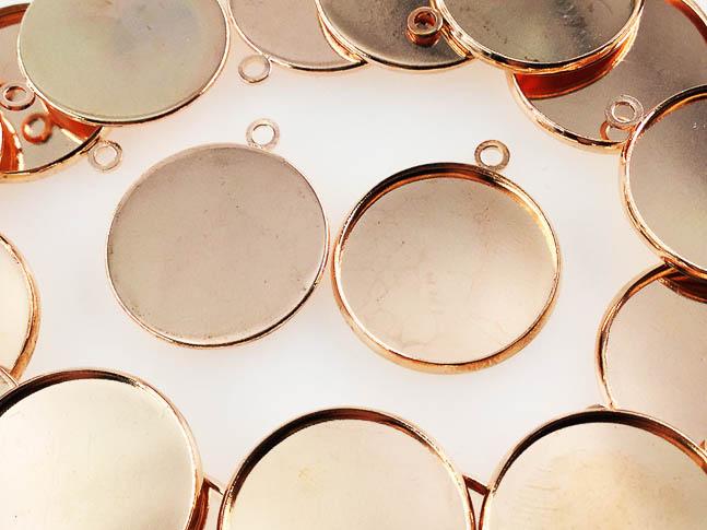 送料無料 ミール皿 丸 人気商品 まとめて ピンクゴールド アクセサリーパーツ ハンドメイドパーツ AP0450 外径約22mm内径約20mm 20枚 日本産