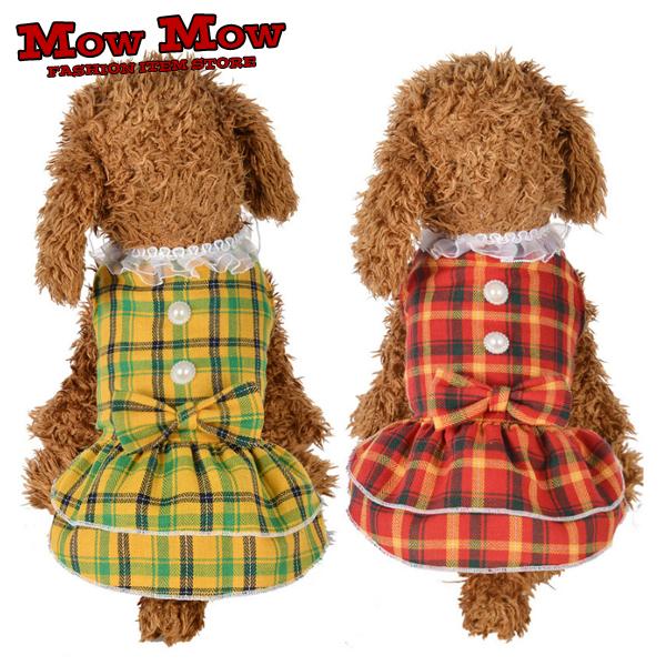 犬の服 オンラインショッピング ペット服 ワンピース つなぎ チェック 新作アイテム毎日更新 リボン dop0034 ふりふり メイド かわいい ドレス