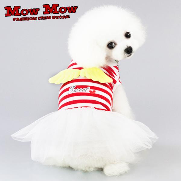犬の服 ワンピース mowmow かわいい ドレス 定番 天使の羽根 ふりふり 限定価格セール ボーダー dop0048