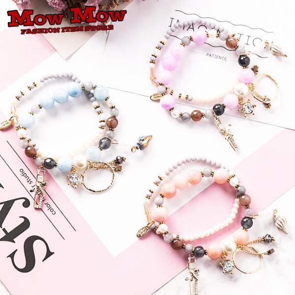 ブレスレット レディース ブレス お歳暮 腕輪 ダブル 買い物 貝殻 w-bracelet0006 かわいい おしゃれ