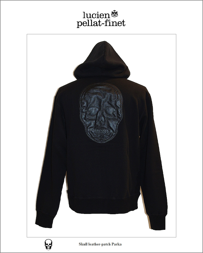 【全品P2倍/最大10,000円OFFクーポン配布中】ルシアンぺラフィネ スカルレザー パーカlucien pellat-finet Skull LeatherPatch Parka black
