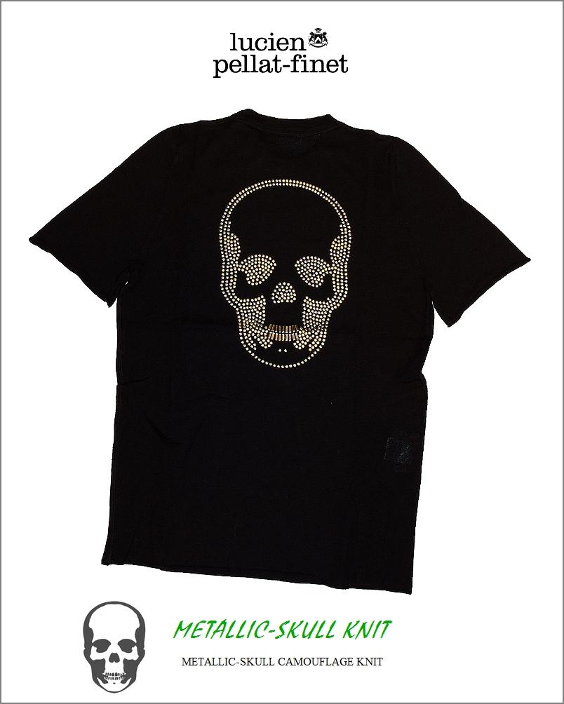 "【lucien pellat-finet""Metallic Stud Camouflage/Skull-ニット""】"