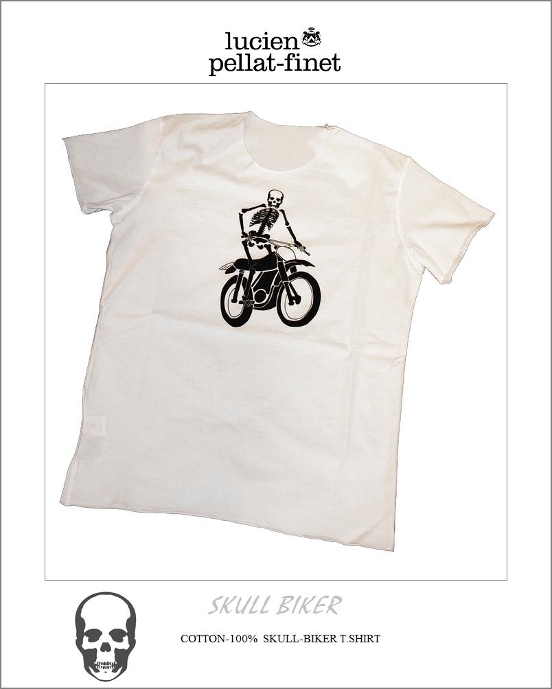 【全品P2倍/最大10,000円OFFクーポン配布中】ルシアンぺラフィネ スカル スケルトン バイカー プリント Tシャツlucien pellat-finet Skeleton Biker Tshirt