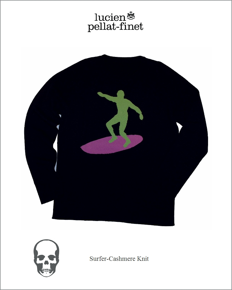 """【全品P2倍/最大10,000円OFFクーポン配布中】【lucien pellat-finet""""Surfer/Cashmere/Knit""""navy】"""