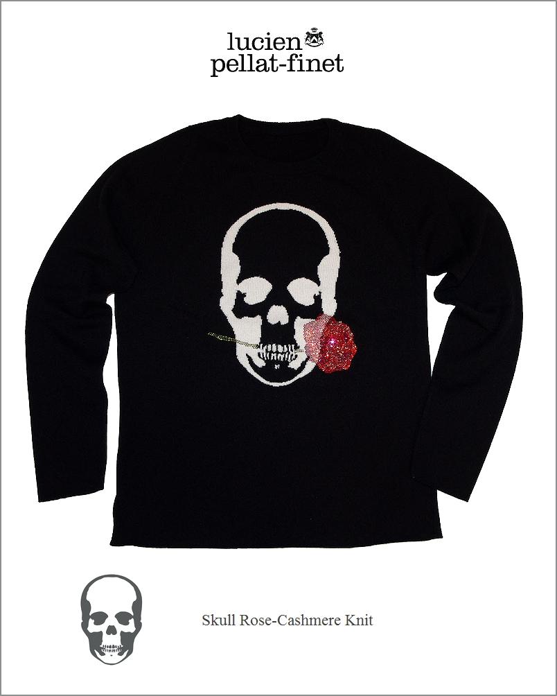 "【lucien pellat-finet""Skull/Rose-Cashmere/Knit""black】"