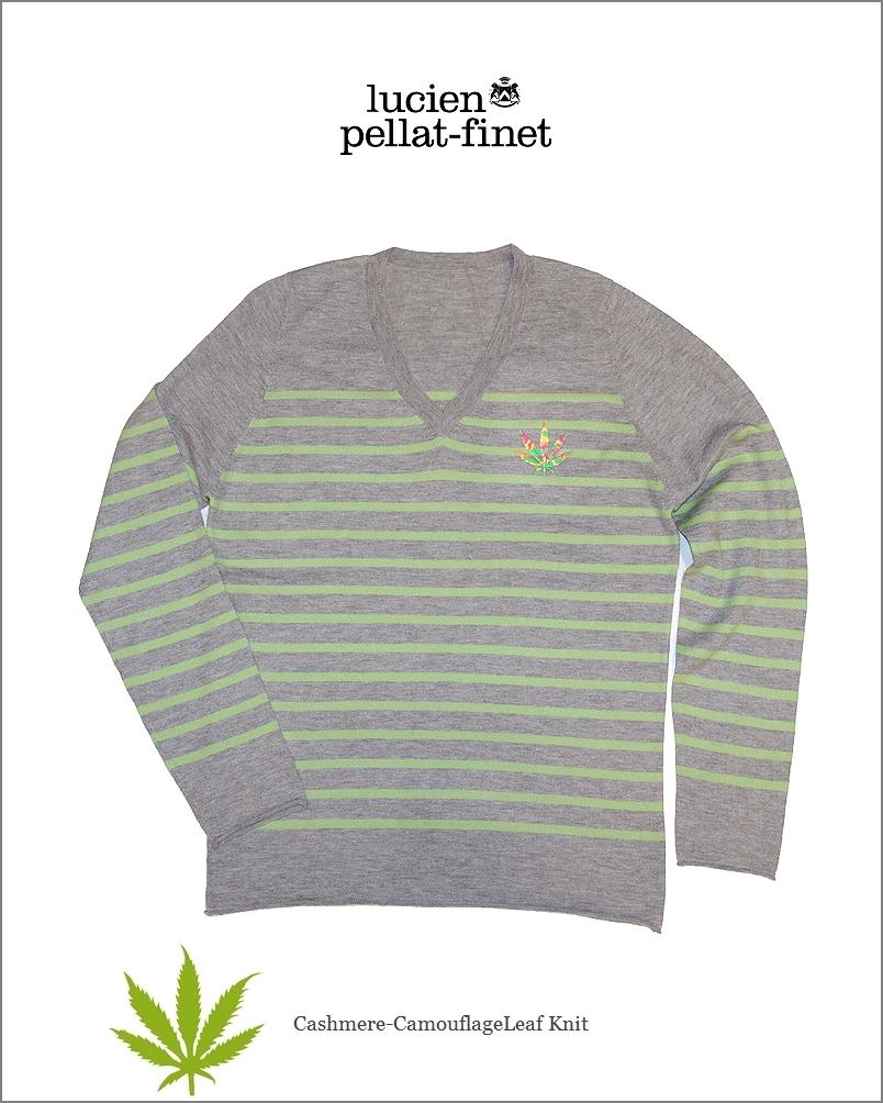 """ルシアンペラフィネ【lucien pellat-finet""""Leaf/BorderCashmere-V.knit""""grey】【ペラフィネ""""リーフ・ボーダーカシミヤニット】"""
