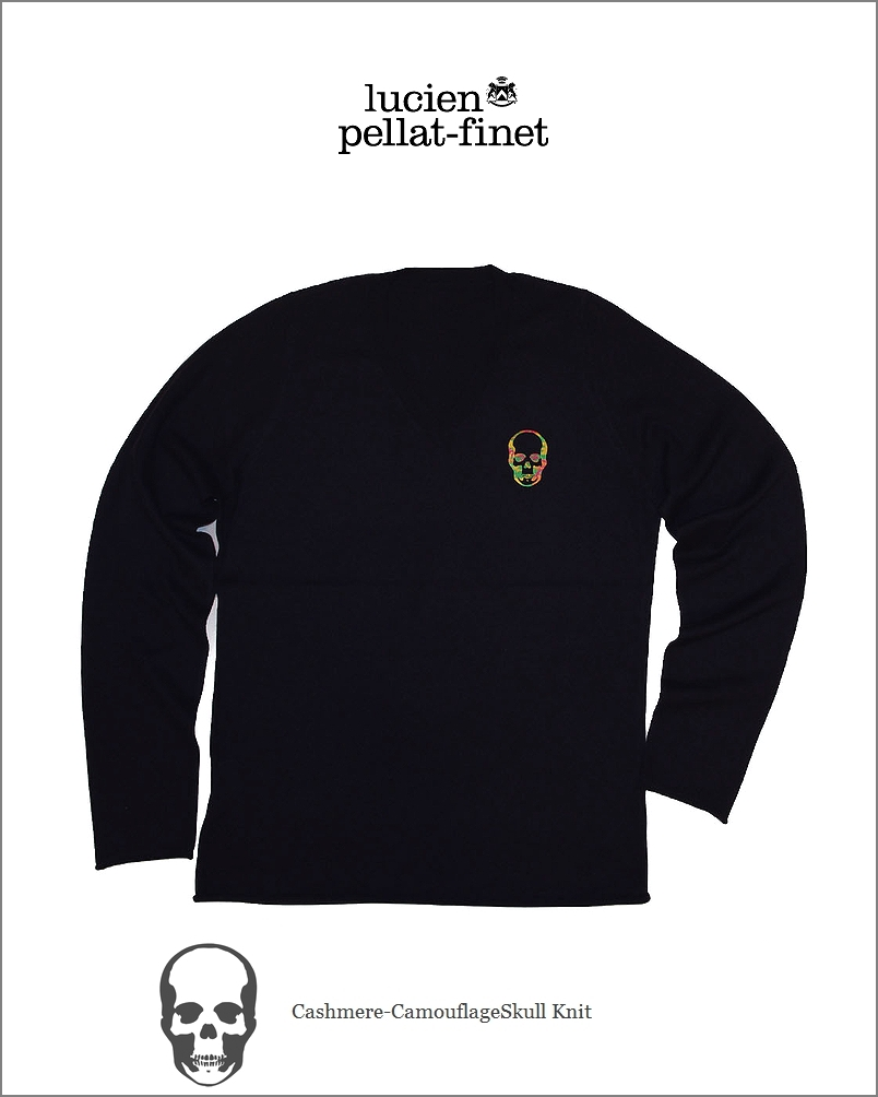 """ルシアンペラフィネ【lucien pellat-finet""""Skull/Cashmere-V.knit""""navy】【ペラフィネ""""スカル・カシミヤニット】"""