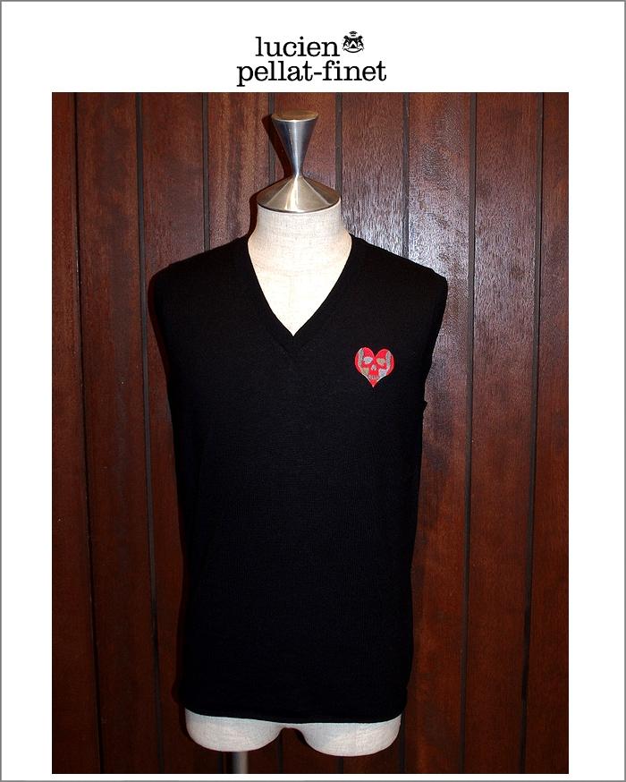 """【ルシアンペラフィネ""""ハートスカル・カシミヤベスト】【lucien pellat-finet""""Heart.Skull/Cashmere-knit""""Black】"""