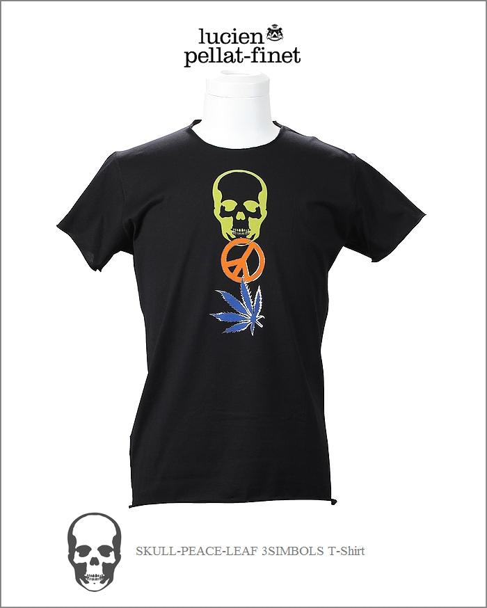 【全品P2倍/最大10,000円OFFクーポン配布中】ルシアンペラフィネ 3シンボル Tシャツ スカル リーフ ピースlucien pellat-finet 3Symbols Tshirt Black