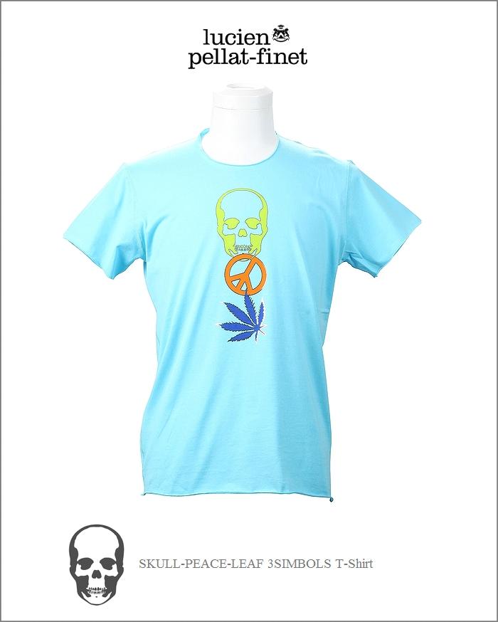 【全品P2倍/最大10,000円OFFクーポン配布中】ルシアンペラフィネ 3シンボル Tシャツ スカル リーフ ピースlucien pellat-finet 3Symbols Tshirt