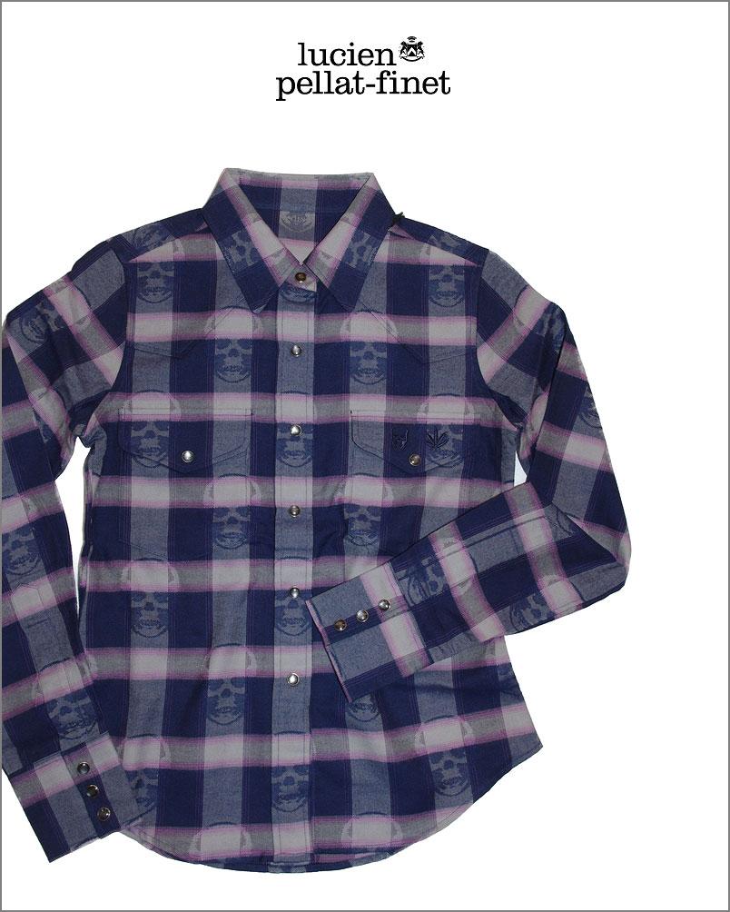 ルシアンペラフィネ スカル チェック カシミヤ入りシャツlucien pellat-finet Skull Check Shirt