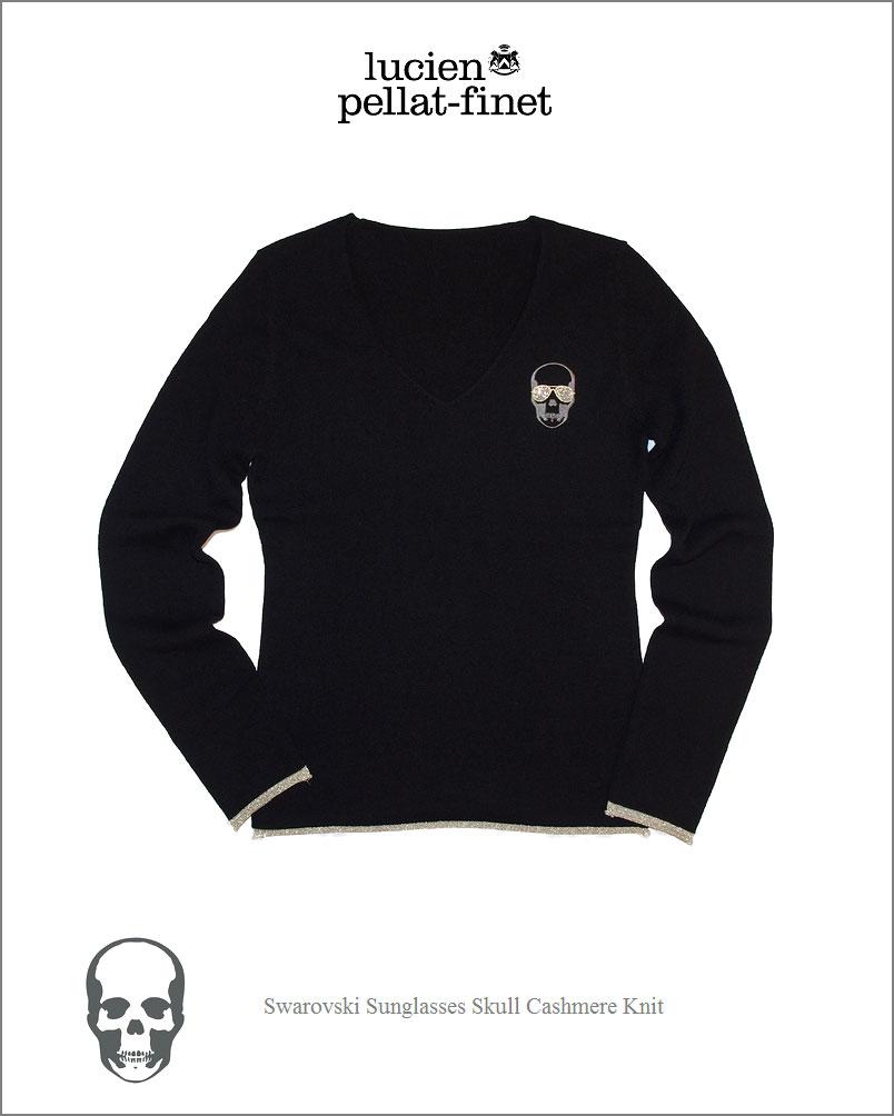 """ルシアンペラフィネ【lucien pellat-finet""""Sunglasses-Skull.Cashmere.Knit""""Black/Gold】【サングラス.スカル-カシミヤニット""""女性用】"""