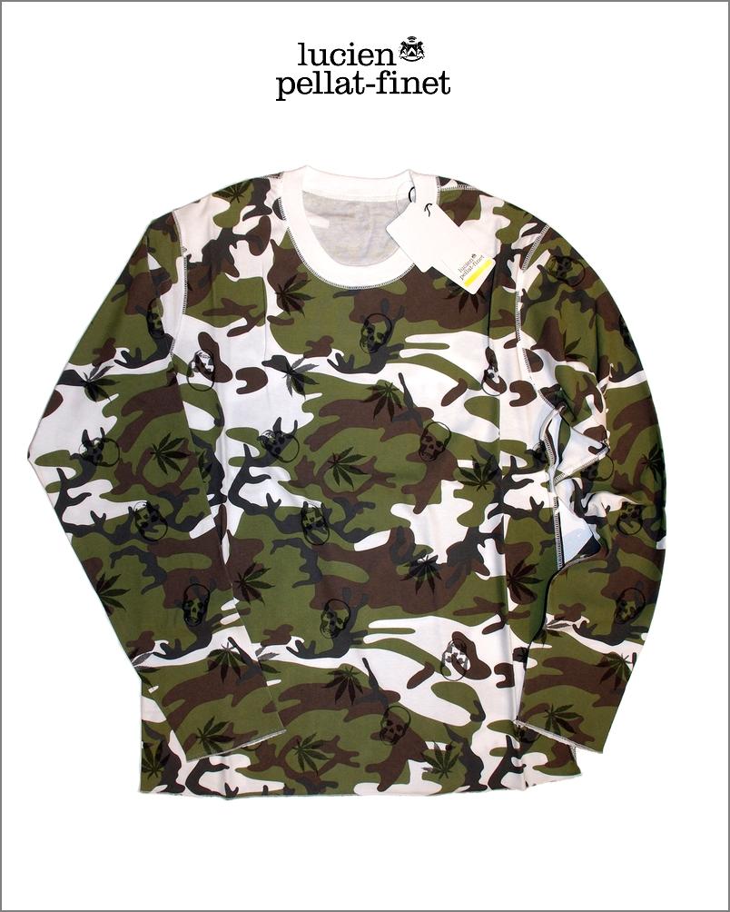 【全品P2倍/最大10,000円OFFクーポン配布中】ルシアンぺラフィネ カモフラージュ スカル 迷彩 プリント Tシャツlucien pellat-finet Camouflage Tshirt