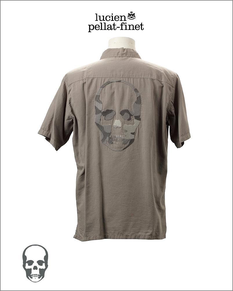 【全品P2倍/最大10,000円OFFクーポン配布中】ルシアンペラフィネ スカル カモフラージュ 刺繍シャツlucien pellat-finet Skull Camouflage shirt