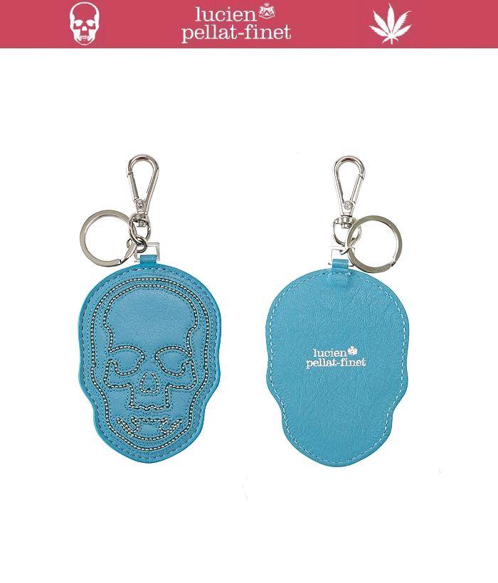 """【ルシアンペラフィネ""""レザースカル・キーホルダー】【lucien pellat-finet""""LeatherSkull/KeyHolder/Lt.Blue】"""