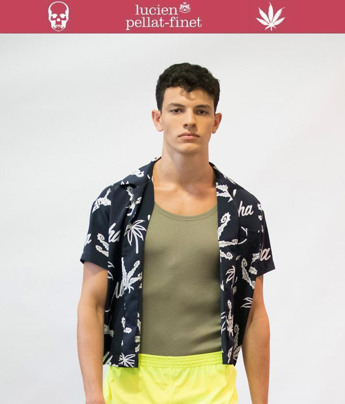 【全品P2倍/最大10,000円OFFクーポン配布中】ルシアンぺラフィネ アロハシャツlucien pellat-finet aloha Shirt スカル リーフ