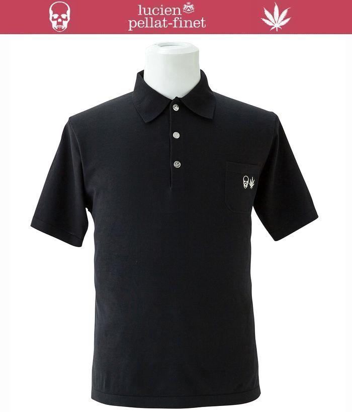 【全品P2倍/最大10,000円OFFクーポン配布中】ルシアンぺラフィネ スカル リーフ メタルボタン ポロシャツ ニットlucien pellat-finet Polo Shirt スカル