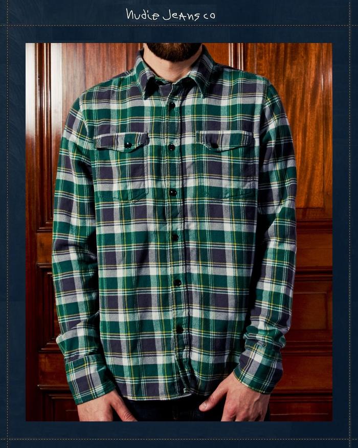 NudieJeans チェック ネルシャツ グリーン ヌーディージーンズ 国内正規取り扱い